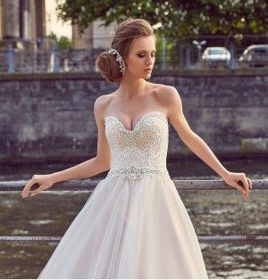 Brautkleid schulterfrei zum Schnüren mit Spitze und Perlen, Blush Gr. 38-42 NEU