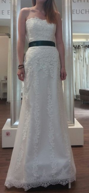 Brautkleid Spitze Weiß ivory creme lang Gr. 36 I-Linie neu & ungetragen