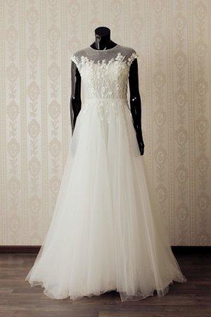 Vestido de novia blanco puro-beige claro