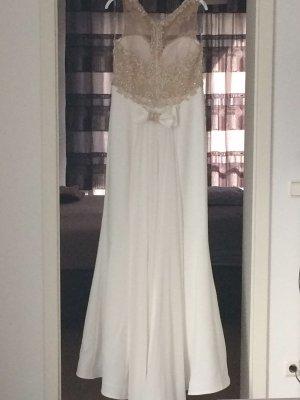 Vestido de novia blanco-color bronce