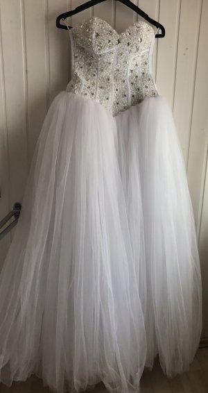 Brautkleid weiß Hochzeitskleid mit Strass Steine 38 40 L Tüll Prinzessinnen