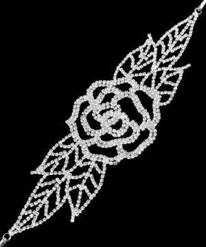 Brautschmuck Hochzeit Silber Haarschmuck Flexibel Rose Blumen Blätter Kristall klar Transparent mit 2 Spangen 21cm