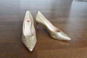 Brautschuh - högl - gold - glitter