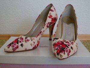Brautschuh Valentina Rainbow Couture Satin Blumen neuwertig Gr. 39,5