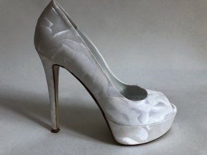 Peep Toe Pumps wit-zilver