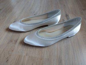 Brautschuhe Rainbow Club Stevie neu ivory Creme Satin Ballerinas Glitzer
