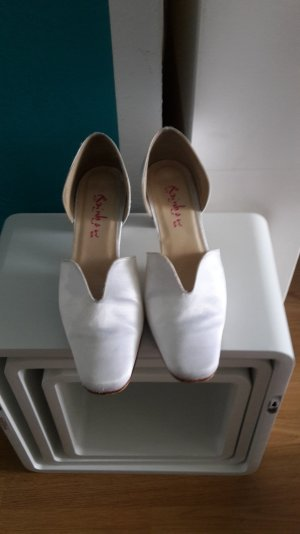 Brautschuhe V-Neck Pumps Satin White Hochzeit Hochzeitsschuhe Rainbow