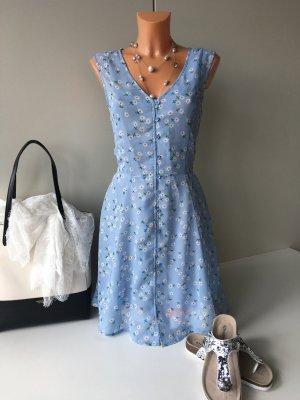 Brave Soul leichtes knielanges Sommerkleid Kleid Gr. M/38 blau geblümt