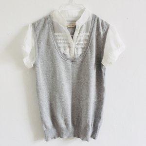 Brave Soul Pullunder Bluse mit Stehkragen in grau und weiß XS/S 34/36/38 victorianisch