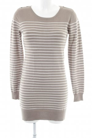 Brave Soul Knitted Dress brown-white striped pattern simple style