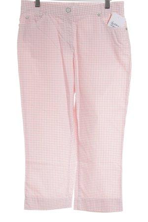 Brax 3/4-Hose weiß-rosé Karomuster Street-Fashion-Look
