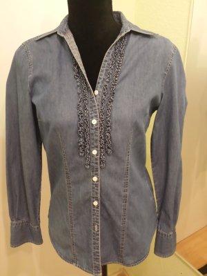 Brax Ruche blouse korenblauw Katoen