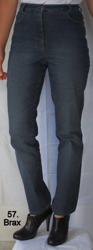 Brax Pantalón de cintura alta azul oscuro Algodón