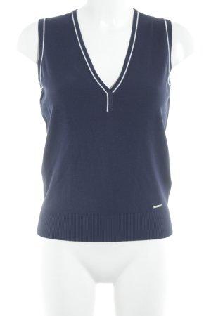 Brax Cardigan en maille fine bleu foncé-blanc style athlétique