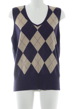Brax Feinstrickpullunder dunkelviolett-creme Karomuster Casual-Look