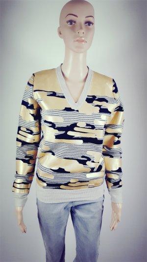 Brax Golf Damen Pullover Baumwolle Kaschmir Strickpullover gold Druck Größe S