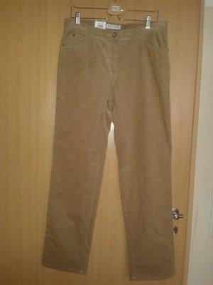 Brax Pantalon en velours côtelé brun sable coton