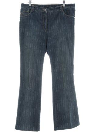 Brax Pantalon taille basse blanc-bleu foncé rayure fine style décontracté