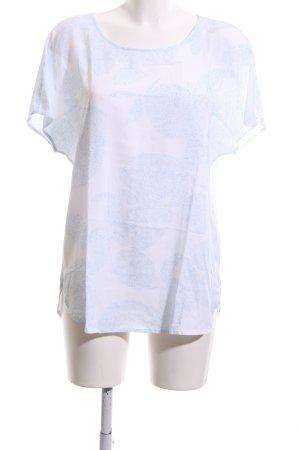 Brax Kurzarm-Bluse weiß-türkis grafisches Muster Casual-Look