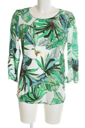 Brax Kurzarm-Bluse weiß-grün Allover-Druck Casual-Look