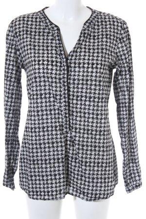 Brax Langarm-Bluse schwarz-wollweiß abstraktes Muster Business-Look