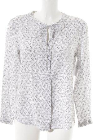 Brax Langarm-Bluse weiß-grau Casual-Look