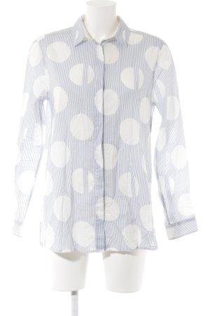 Brax Langarm-Bluse weiß-kornblumenblau Punktemuster Casual-Look