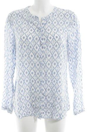 Brax Langarm-Bluse weiß-stahlblau abstraktes Muster Casual-Look