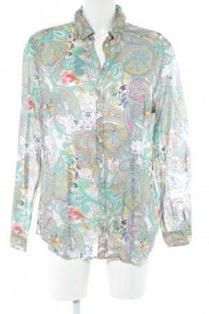 Brax Long Sleeve Shirt turquoise-white abstract pattern casual look