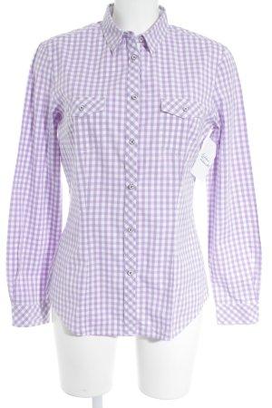 Brax Chemise à manches longues blanc-lilas motif à carreaux style d'affaires