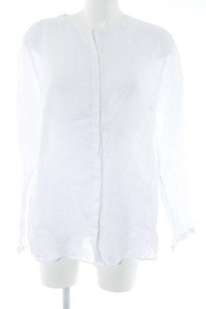 Brax Blusa de lino blanco estampado floral estilo romántico