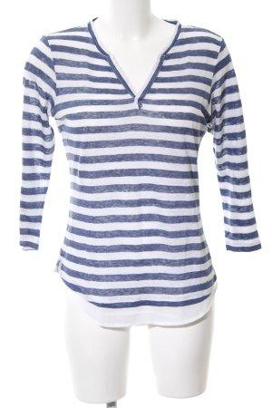 Brax Longsleeve blau-weiß Streifenmuster Casual-Look