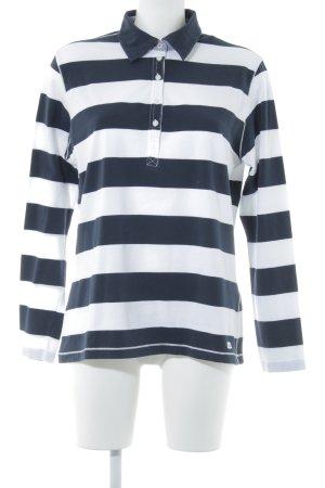Brax Camiseta tipo polo azul oscuro-blanco estampado a rayas look casual
