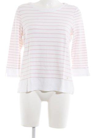 Brax Gestreept shirt wit-rosé horizontale strepen casual uitstraling
