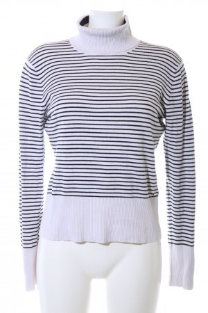 Brax Turtleneck Sweater white-black striped pattern casual look