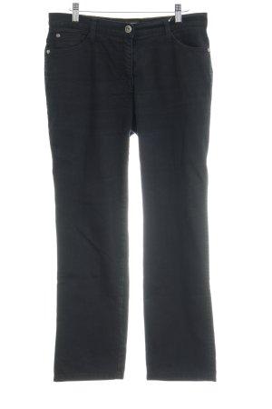 Brax Straight-Leg Jeans schwarz Logo-Applikation aus Leder