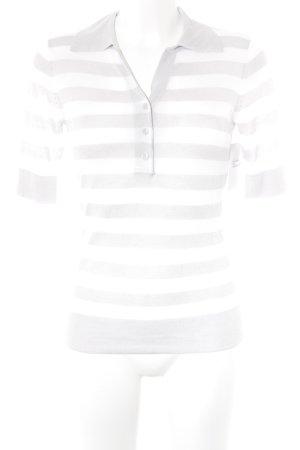 Brax Strickshirt hellgrau-weiß Streifenmuster Casual-Look