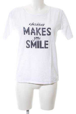 Brax T-Shirt weiß-schwarz Schriftzug gedruckt Casual-Look
