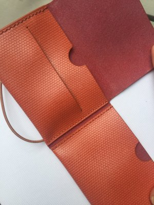 Bree Porte-cartes orange fluo cuir