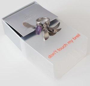 Breil Anillo de cuentas color plata-lila
