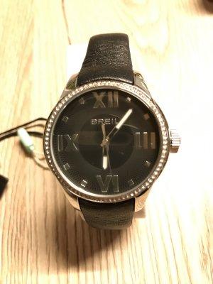 Breil Montre avec bracelet en cuir argenté-noir