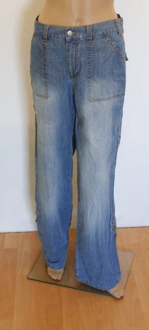 Breite Jeans, 100% Baumwolle, blau, Gr. 38