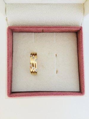 Breiter 585 Gelbgold Ring mit 6 Diamanten