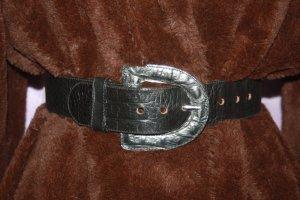 Breiter Gürtel schwarz echtes Leder Krokoprint 68 75 80