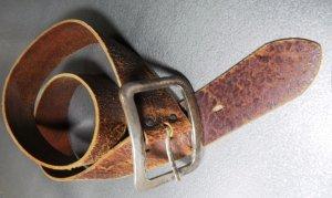 breiter Ledergürtel hellbraun Größe 90