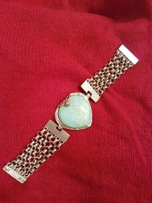breites antikes Kettenarmband aus silber # türkises Herz