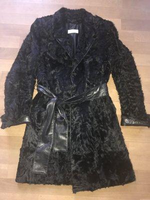 Breitschwanzpersianer Trenchcoat Pelz schwarz in 36
