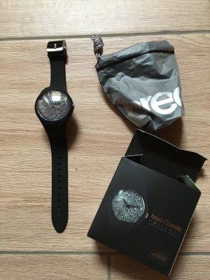 BREO Classic Twilight Uhr mit Silikon-Armband schwarz silber mit Swarowski-Elementen