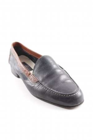 Breuninger Exquisit Slip-on Shoes dark blue-cognac-coloured classic style