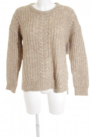 Breuninger Wollpullover creme Lochstrickmuster Casual-Look